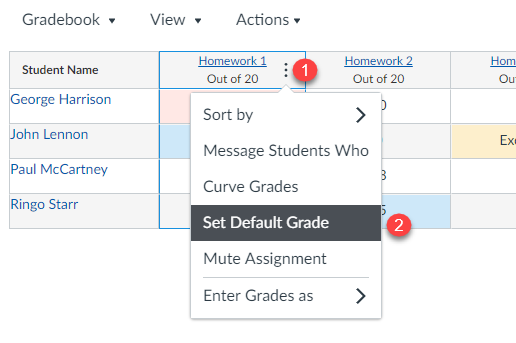 Set default grade