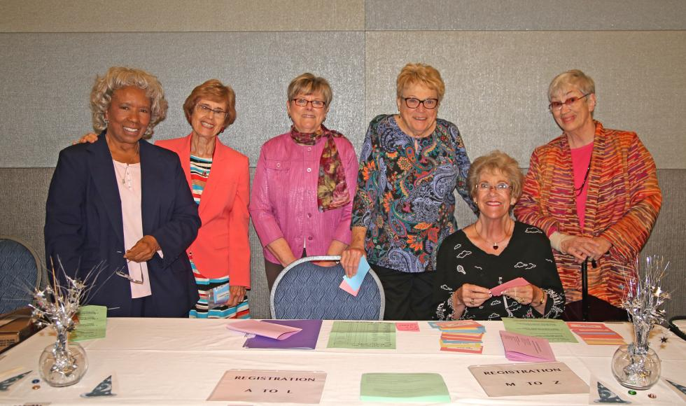 The Planning Committee: (L to R) T. Jean Adenika, Marilyn Friedman, Diane Klein, Diane Vernon, Rosemarie Marshall-Holt, Janet Fisher-Hoult at 2016 spring luncheon