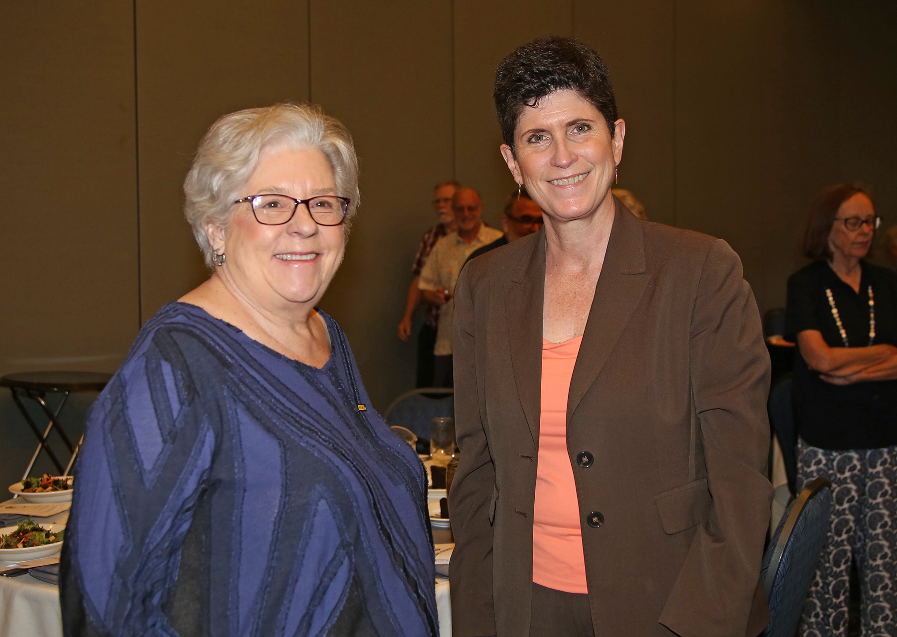 Lynn Mahoney and guest at luncheon