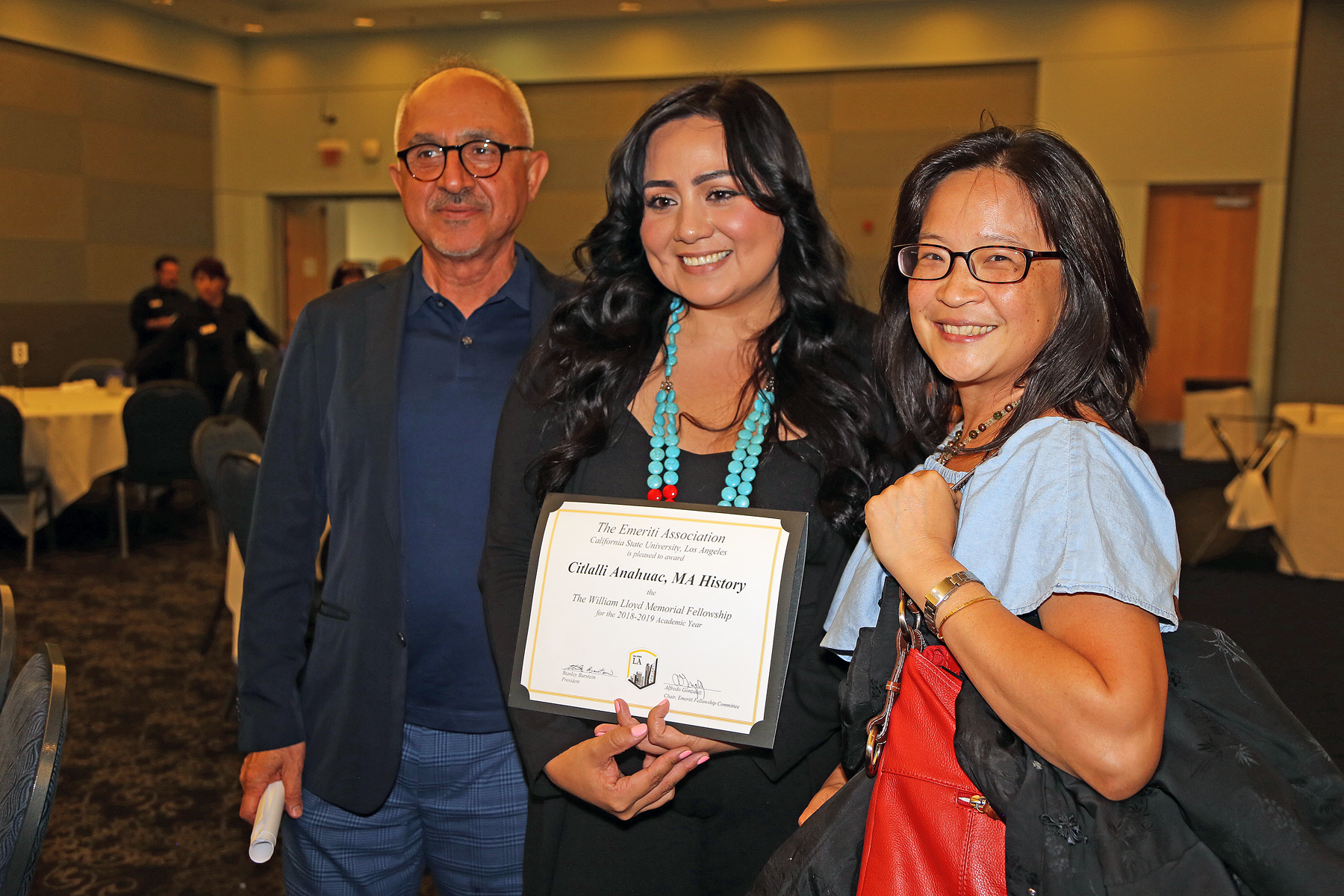 Citalli Anahuac, MA in history recipient award with two professors