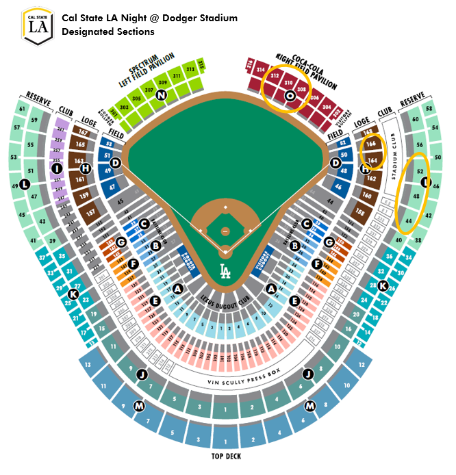 Cal State LA Night at Dodger Stadium Designated Sections Map