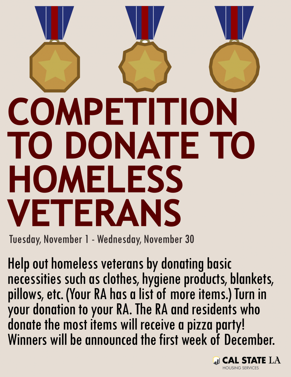 Competition to Donate to Homeless Veterans! | Cal State LA