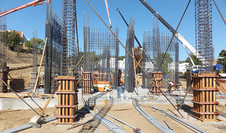 Construction of the new foundation and pillars.