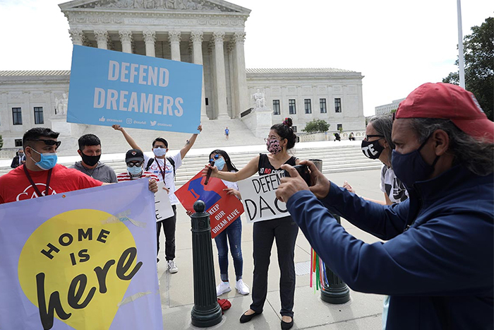 Dreamers gathered in front of the Supreme Court