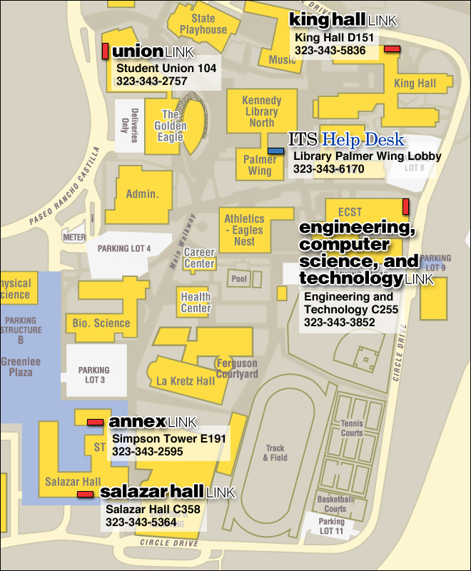 Campus Map With Open Access Lab Locations  California