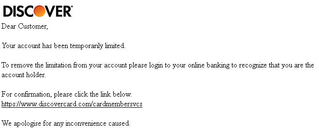 Phishing email message pretends to be from Discover