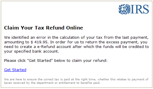 Phishing email message pretends to be from IRS