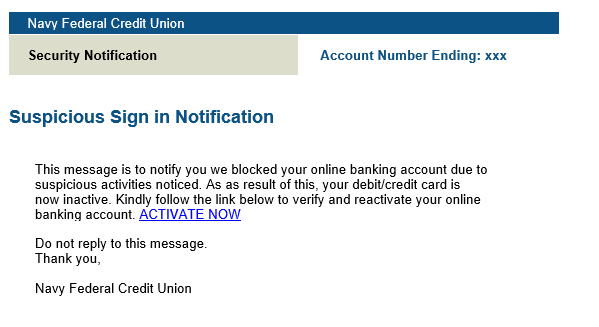 phishing email message pretends to be from Navy Federal Credit Union