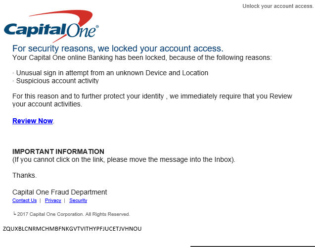 phishing email message pretends to be from Capital One