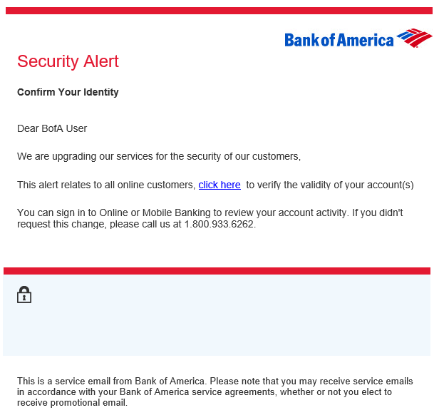 phishing email message pretends to be from Bank of America