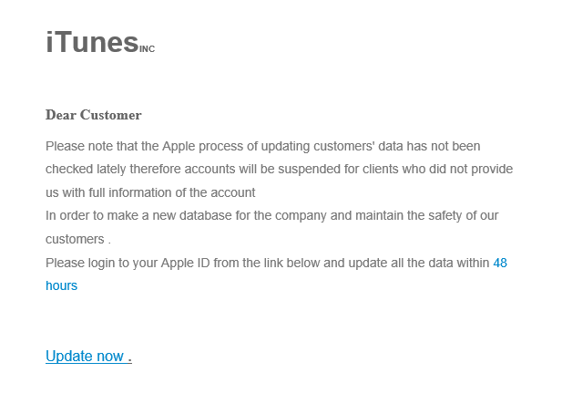 phishing email message pretends to be from iTunes