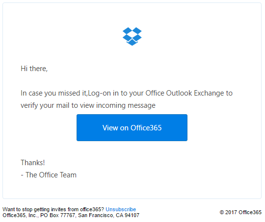 phishing email message pretends to be from Office365