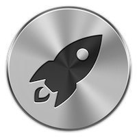 "Launchpad icon on macOS. Gray icon with black ""rocket ship."""