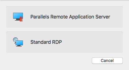 Parallels Remote Application Server Selection