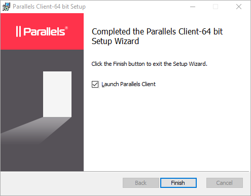 Parallels Setup Page Completed