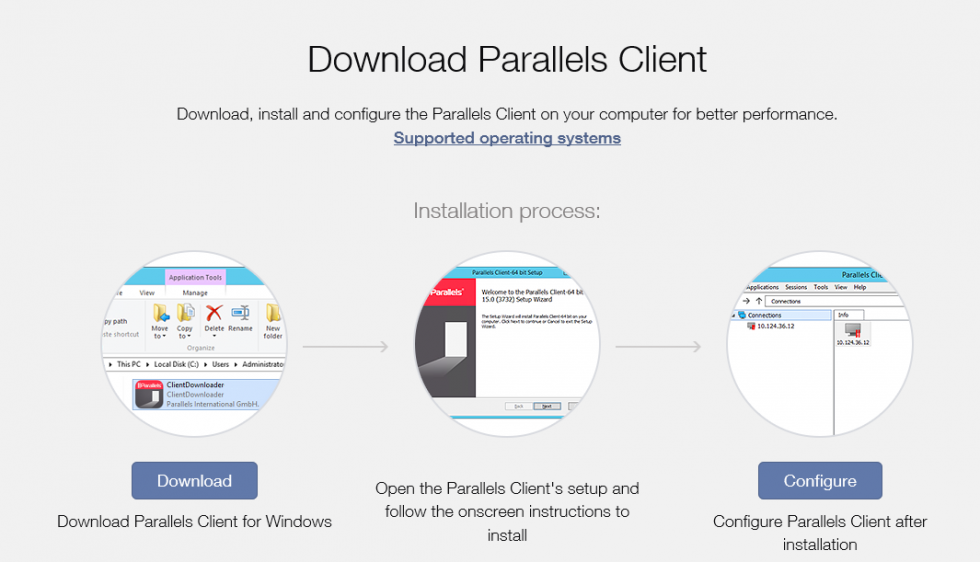 Parallels Client OS Download Options