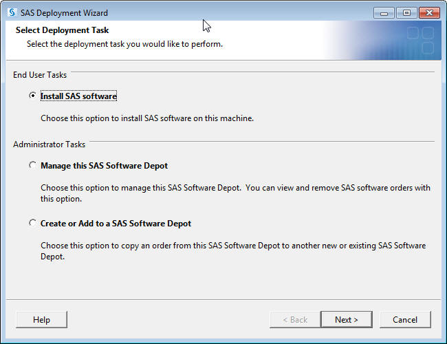 Selection popup page...SAS Deployment Wizard