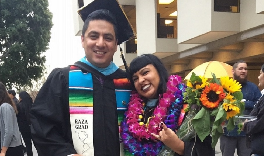 EDFN M.A. graduates Raul Meneses Samperio and Angie Barrera at Commencement, May 2018