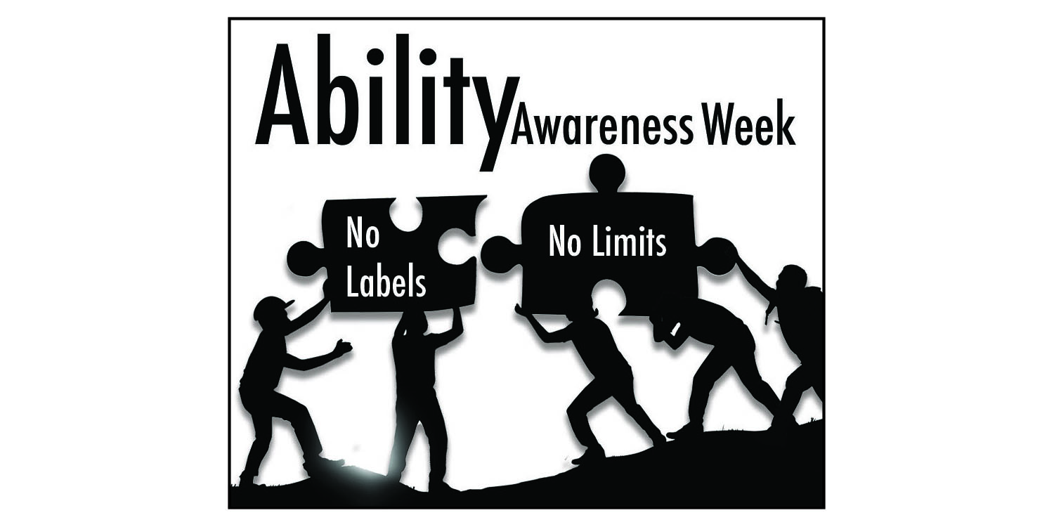 Ability Awareness week. Children carrying two puzzle pieces across a field that read, no labels. No limits.
