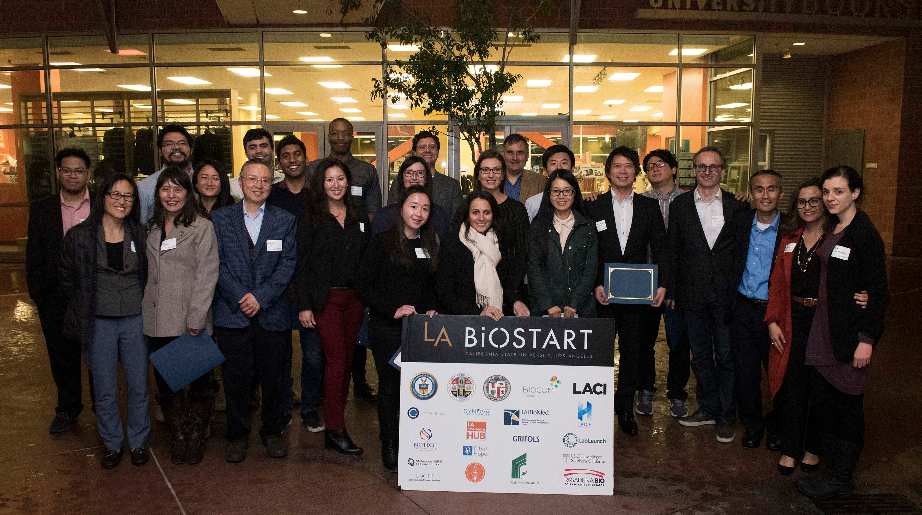 Members of the fourth class of Cal State LA BioStart fellows at the Feb. 13 event.