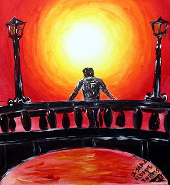 Photo of artwork by Isaac Aldape, featuring a back of a person on a bridge looking at a sunset.