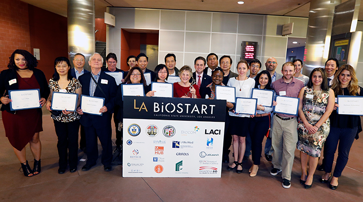 Members of the second class of LA BioStart fellows with university and regional bioscience leaders at the Feb. 16 event
