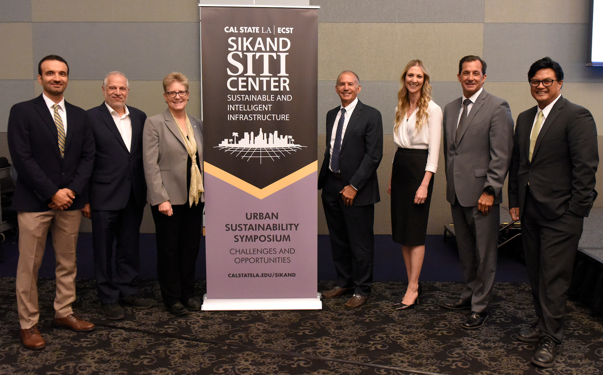 Left to right, Mehran Mazari, Raphael Sonenshein, Emily Allen, Mark Sikand, Lauren Faber O'Connor, Mark Pestrella, and Cris Liban.