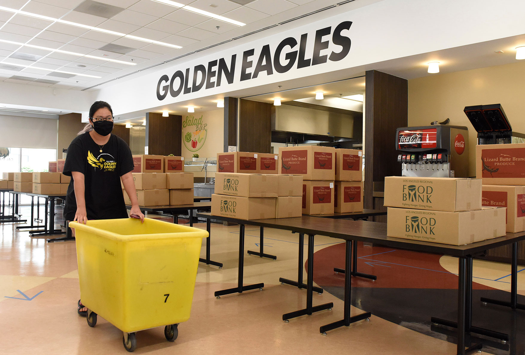 Boxes of food delivered to Cal State LA students living in university housing.