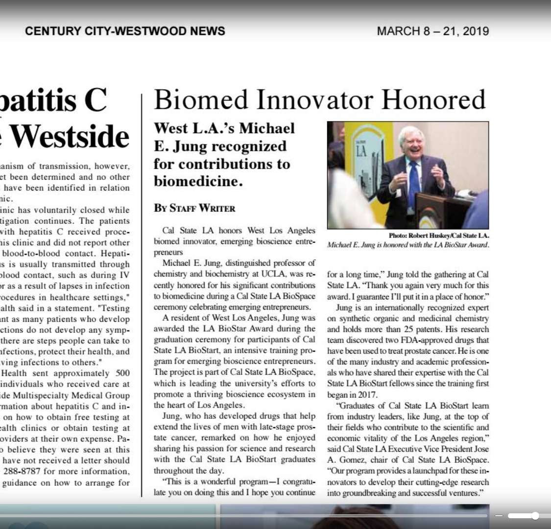 3ce1f81a2ae4 21)  Biomed Innovator Honored