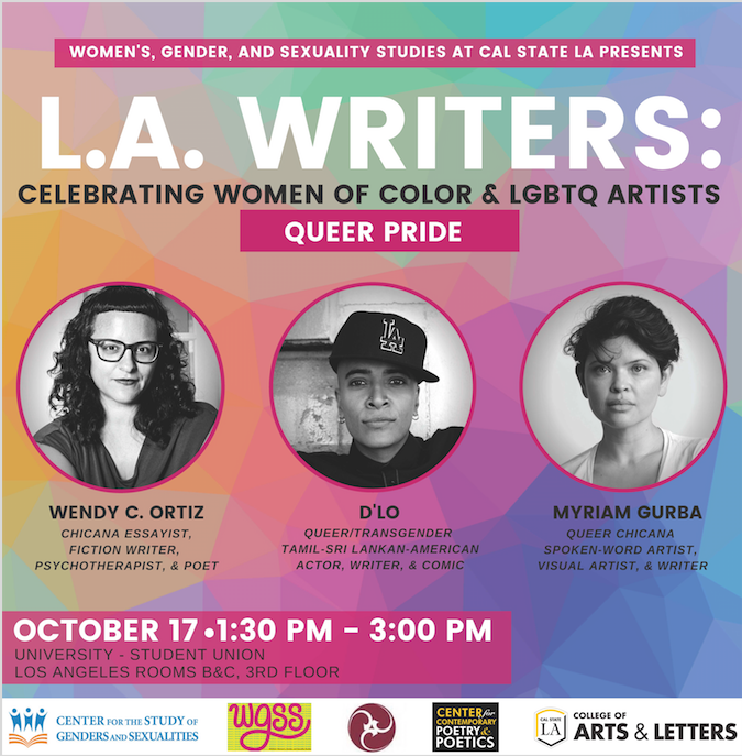 L.A. Writers: Celebrating women of color and LBBTQ artists October 17 1:30 p.m. - 3:00 p.m. Los Angeles Room, B&C 3rd Floor