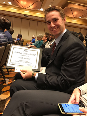 Jake Jelmini won the Norman James Award for Student Research at the 36th Annual Southwest Chapter of the American College of Sports Medicine Meeting held on October 22, 2016.