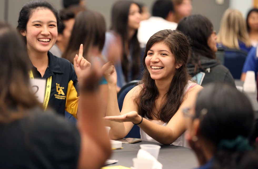 Female students laughing, Summer Session, Second 5-Week Session, July 8 - August 10