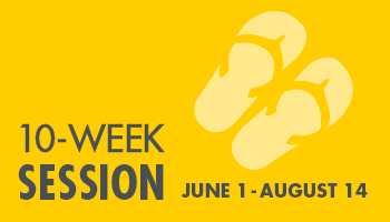 Yellow background. Flip flops. 10-Week Summer Session. June 1 - August 14, 2021.