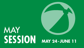 Green background. May Session is May 24 - June 12, 2021. Beach ball.