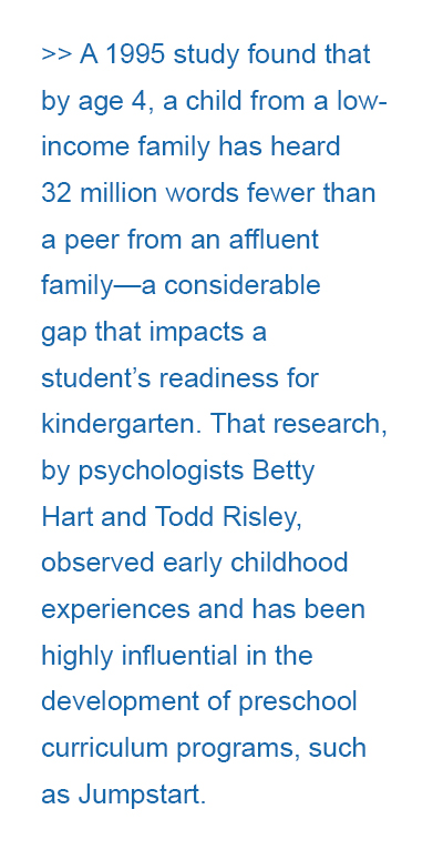 A 1995 study found that by age 4, a child from a low-income family has heard 32 million words fewer than a peer from an affluent family—a considerable gap that impacts a student's readiness for kindergarten. That research, by psychologists Betty Hart and Todd Risley, observed early childhood experiences and has been highly influential in the development of preschool curriculum programs, such as Jumpstart.