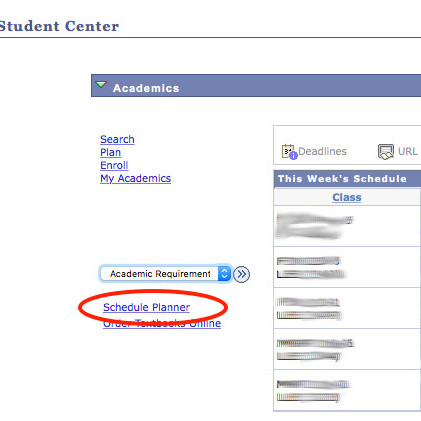 Screenshot of Student Center