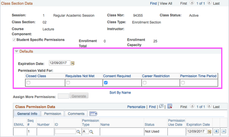 Screenshot of Enrollment Validation box
