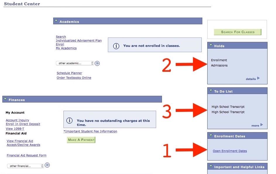 Screenshot of Student Center Registration page with arrows pointing to the status boxes on the right that indicate Holds, a To Do List, and Enrollment Dates
