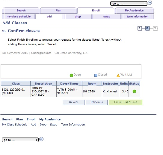 Screenshot of GET: Add Class: Confirm Classes.  This screen highlights the FINISH ENROLLING button