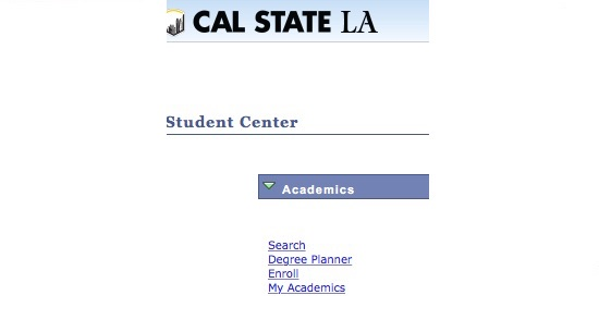 Screenshot of Student Center Academics section