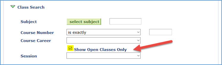 Screenshot showing Show Open Classes Only checkbox under Class Search arrow