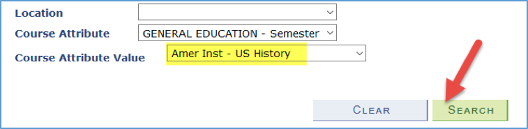 Screenshot showing Amer Inst - US History as a Course Attribute Value, and also pointing to the Search button