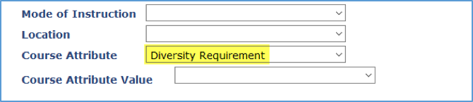 Screenshot showing Diversity Requirement as a Course Attribute