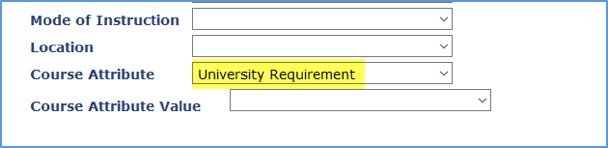 Screenshot showing University Requirement as a Course Attribute