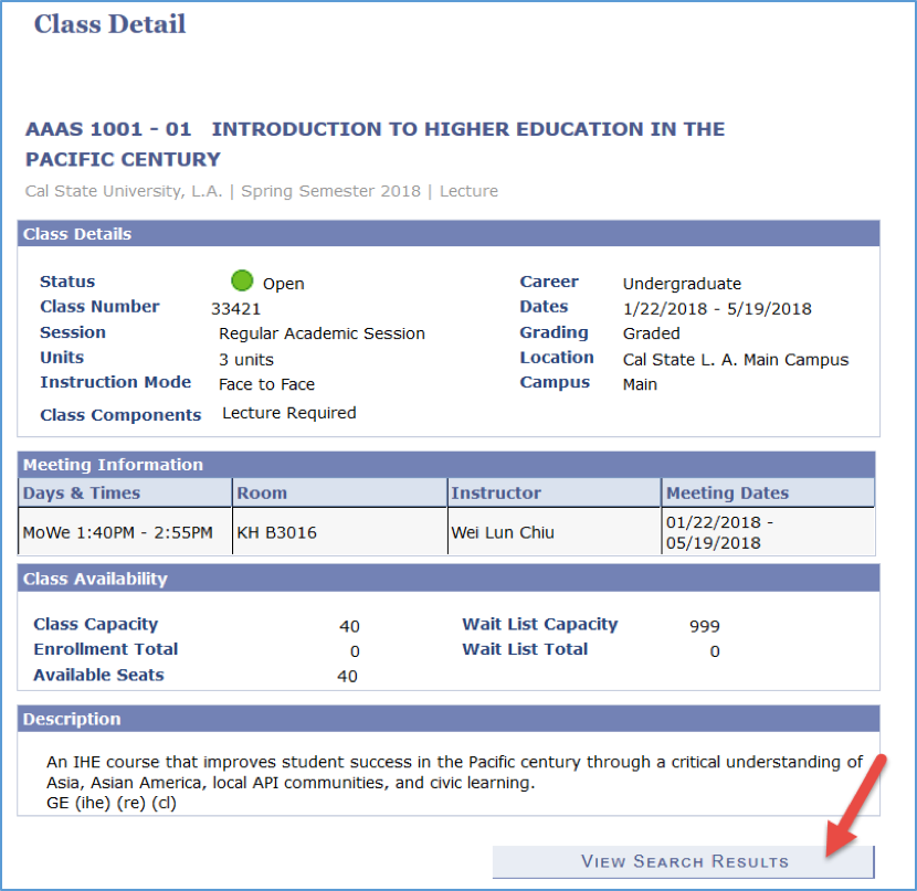 Screenshot showing an example of the Class Detail page, with information about the course, plus an arrow pointing to the View Search Results button