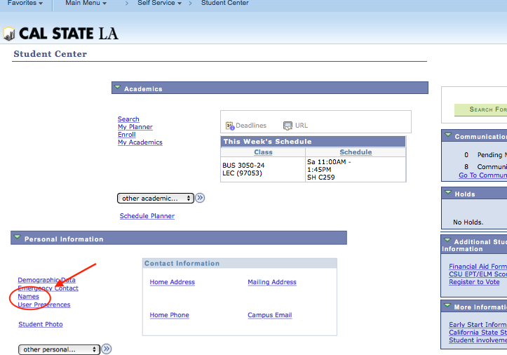 Screenshot of Student Center with Names link highlighted