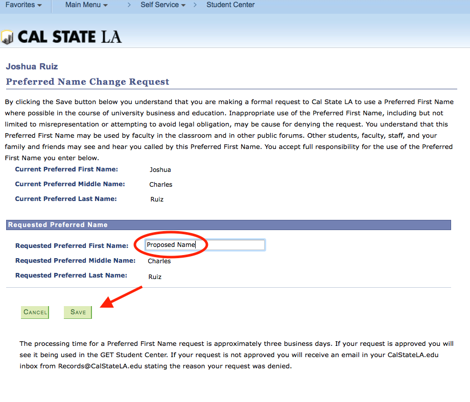 Screenshot of Preferred First Name Change Request screen with Preferred First Name Save button highlighted