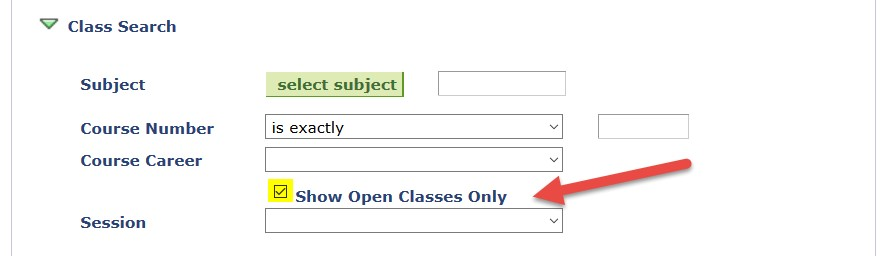 Screenshot of Class Search with Open Classes Checkbox highlighted
