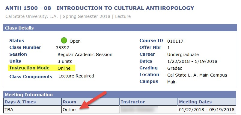 Screenshot of Class Search with Online Course Room highlighted showing online room assignment