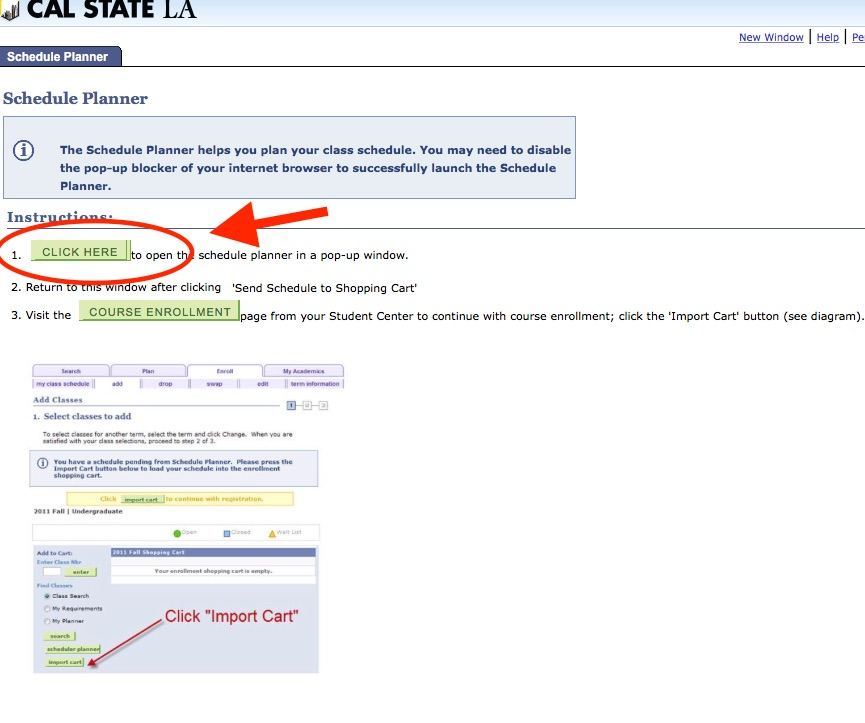 Screenshot of Schedule Planner launch screen with button labeled CLICK HERE that links to Schedule Planner